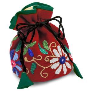 ミラー刺繍 ジュエリーポーチ(赤) asante