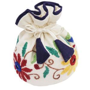 ミラー刺繍 ジュエリーポーチ(白) asante