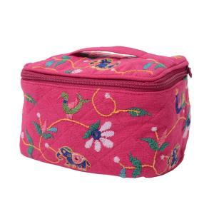 ミラー刺繍  コスメポーチ(ピンク) asante