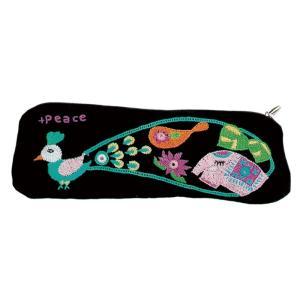 ミラー刺繍  ペンケース(黒) asante