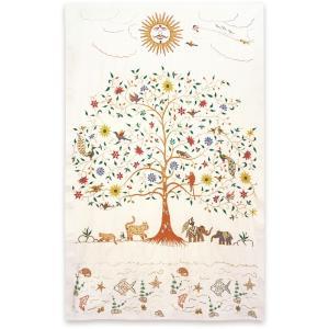ミラー刺繍ベッドカバー 太陽(生成)|asante