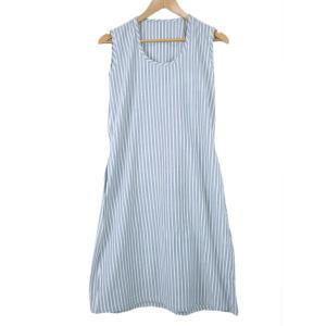 カディ草木染ワンピース ダブルストライプ(藍)|asante