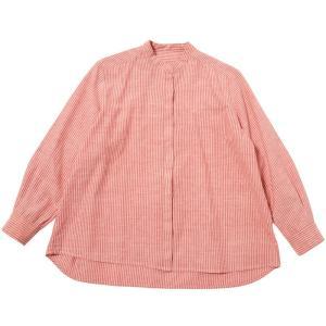 カディ 手織りのスタンダードブラウス(赤縞))|asante