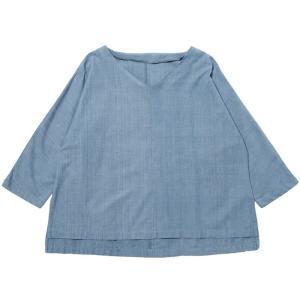 カディ 草木染手織りのゆったりブラウス(藍)|asante