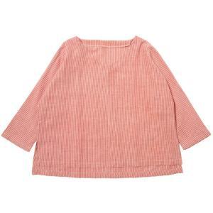 カディ 手織りのゆったりブラウス(赤縞)|asante