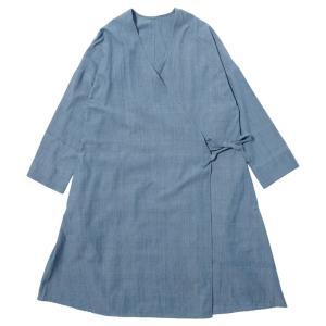 カディ 草木染手織りのロングブラウス(藍)|asante