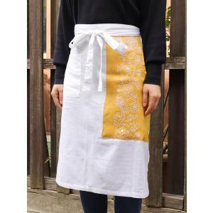 カディコットン×ミラー刺繍  ショートエプロン 65cm(白×黄色)|asante