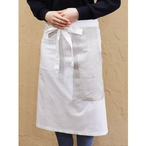 カディコットン×ミラー刺繍  ショートエプロン 65cm(白×ライトグレー)|asante