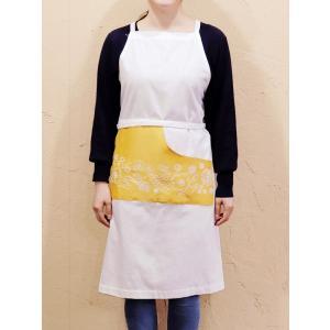 カディコットン×ミラー刺繍 ロングエプロン(白×黄色)|asante