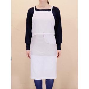カディコットン×ミラー刺繍 ロングエプロン(白×ライトグレー)|asante