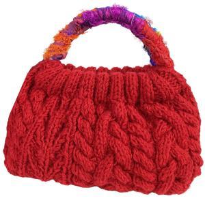 MING ネパール 手編みのハンドバッグ 赤 |asante