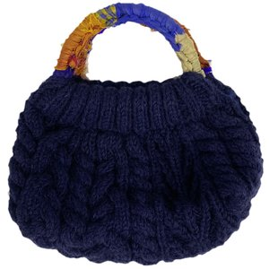 MING ネパール 手編みのハンドバッグ 紺|asante