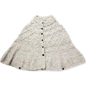 アルパカ&コットン 手紡ぎ綿とアルパカのポンチョ (白グレー)|asante