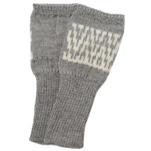 アルパカ100% 模様編み指なし手袋(ライトグレー)|asante