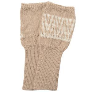アルパカ100% 模様編み指なし手袋(ベージュ)|asante