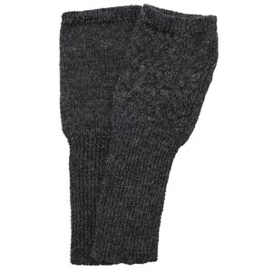 アルパカ100% ケーブル編み指なし手袋(ダークグレー)|asante