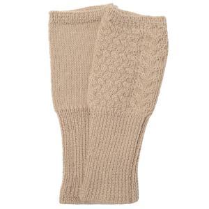 アルパカ100% ケーブル編み指なし手袋(ベージュ) |asante