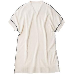 アルパカ100% ネックウォーマー付きチュニックプルオーバー(白)|asante