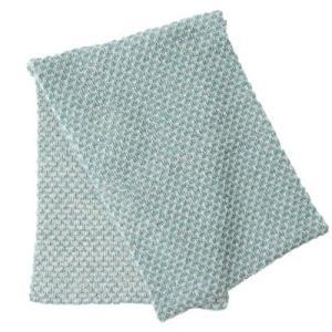 アルパカ100% 引き上げ柄のマフラー(水色×白)|asante