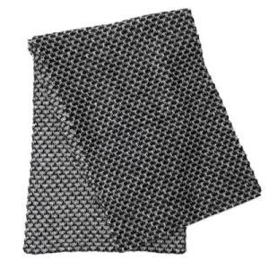 アルパカ100% 引き上げ柄のマフラー(黒×白)|asante