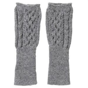 アルパカ100% 指なし手袋 ハニカム・アラン模様(ライトグレー)|asante