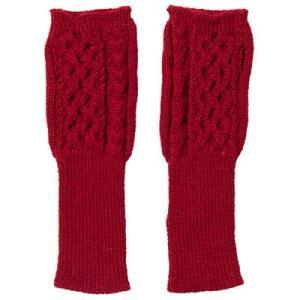 アルパカ100% 指なし手袋ハニカム・アラン模様(赤)|asante