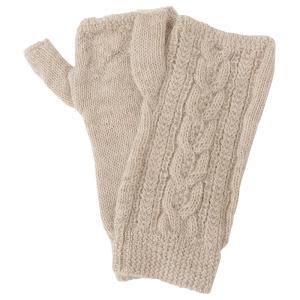 アルパカ100% 指なし手袋 縄柄 ライトベージュ asante