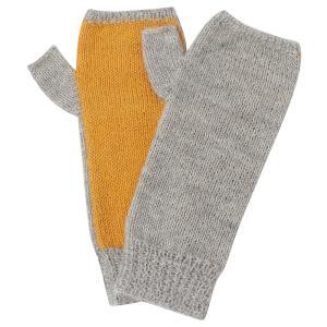 アルパカ100% 指なし手袋 メリヤス編 グレー×オレンジ asante