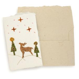手漉き紙 クリスマスミニカード(トナカイC)|asante