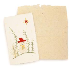 手漉き紙 クリスマスミニカード(雪だるまE)|asante