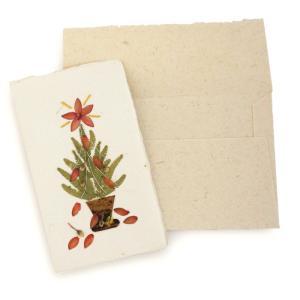 手漉き紙 クリスマスミニカード(ツリーG)|asante