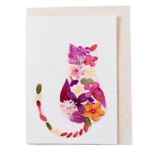 手漉き紙 ミニカード ネコ|asante