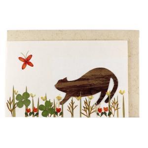 手漉き紙 ミニカード ネコと蝶|asante