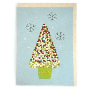 手漉き紙 クリスマスカード (ツリー水色) asante
