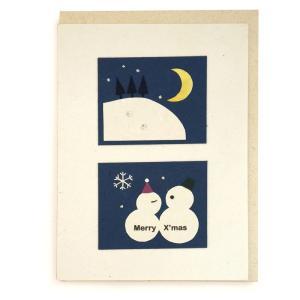 手漉き紙 クリスマスカード (雪だるま)|asante