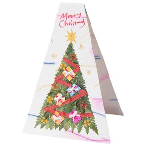 手漉き紙 クリスマスカード ツリー 置き型(白)|asante