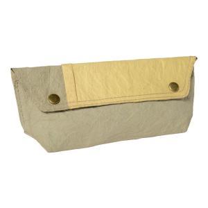 ガッツィ紙のペンケース(グレージュ×黄)|asante
