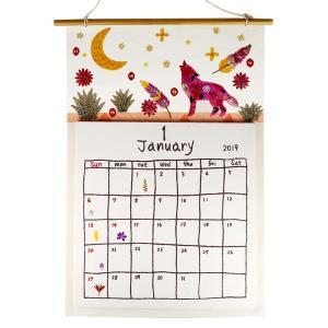 手漉き紙 2019壁掛けカレンダー大 コヨーテ|asante