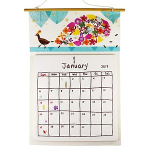 手漉き紙 2019壁掛けカレンダー大 ピーコック asante