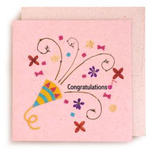 手漉き紙 お祝いカード (ピンク)|asante