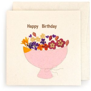 手漉き紙 お誕生日カード 花束(白)|asante