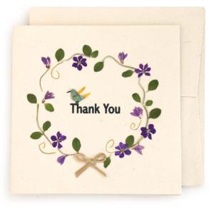 手漉き紙 ありがとうカード(白) asante