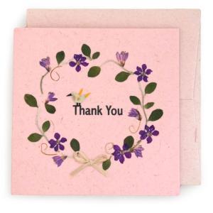 手漉き紙 ありがとうカード(ピンク)|asante