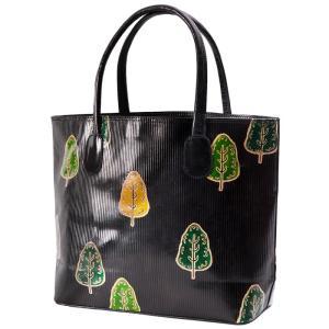 山羊革 トートバッグ 木と木柄(黒) ヤギ革【フェアトレード】|asante