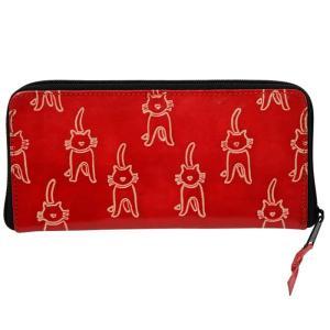 山羊革 長財布 ネコ柄(赤)|asante