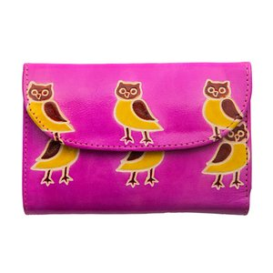 山羊革 フラップ付二折財布 フクロウ柄(ピンク)|asante