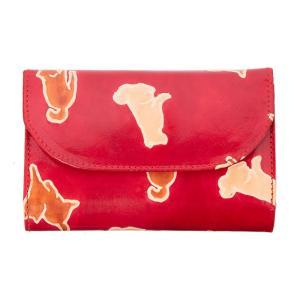 山羊革 フラップ付き二つ折り財布 犬おさんぽ柄(赤) ヤギ革【フェアトレード】|asante
