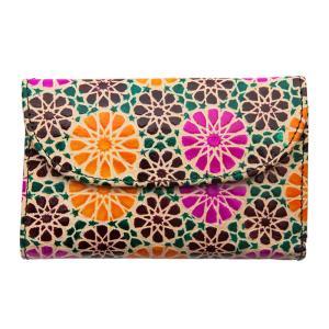 山羊革 フラップ付二折財布 タンポポ柄(薄緑)  |asante
