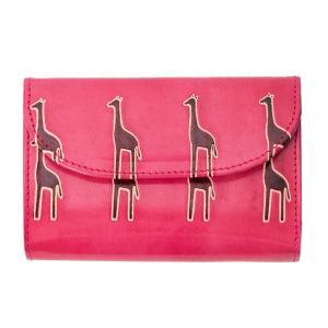 山羊革 フラップ付き二つ折り財布 キリン柄(ピンク) ヤギ革【フェアトレード】|asante