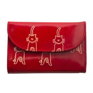 山羊革 フラップ付二折財布 ネコ柄(赤)  |asante